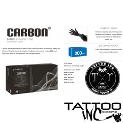 Gloves Tattoo Black Nitrile Carbon® 200 gloves per Box (Case of 10 Boxes)