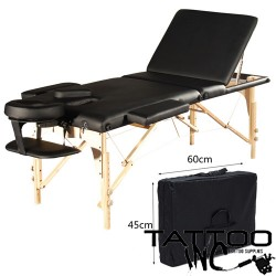 ORABI Orabi Wooden Portable Massage Bed With Adjustable Head & Height Black